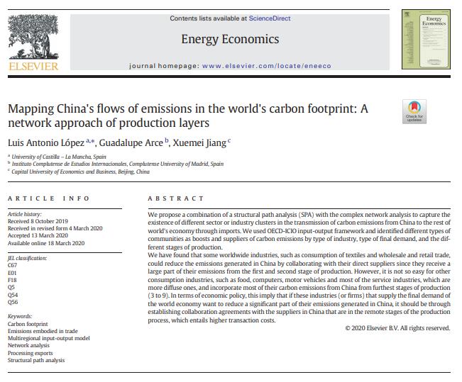 Publicación reciente del grupo GEAR en Energy Economics