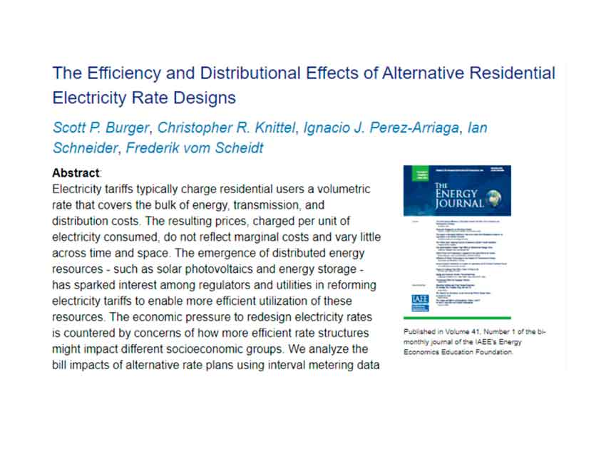 The efficiency and distributional effects of alternative residential electricity rate designs.
