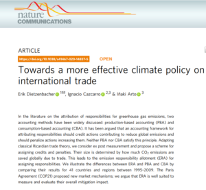 Publicación reciente del grupo Low Carbon (BC3) en Nature Communications
